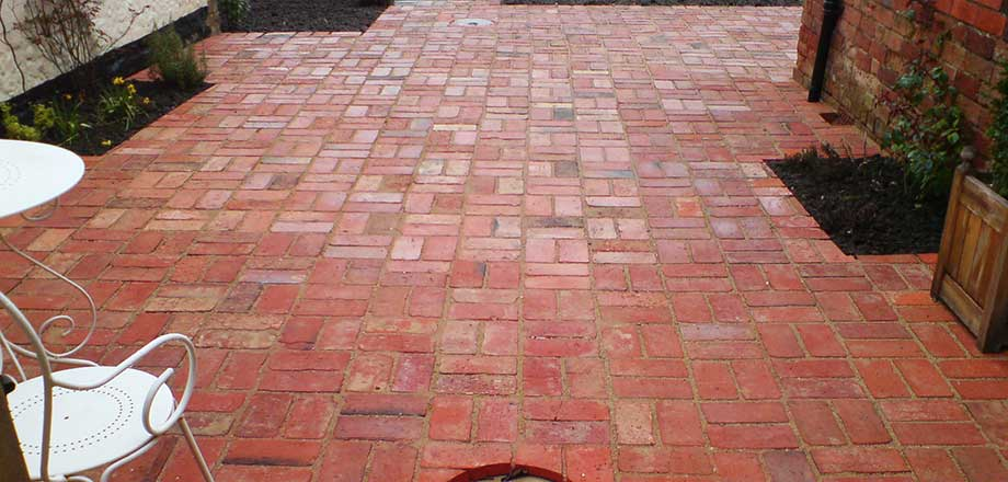 Reclaimed brick paving